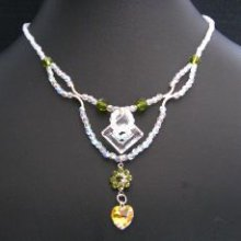 Collier double rang Crystal et Olivine