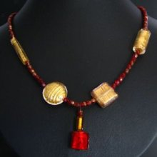 Collier Murano rouge & or
